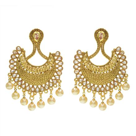 14236 Antique Chand Earring with gold plating