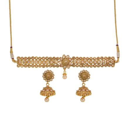 14237 Antique Choker Necklace with gold plating