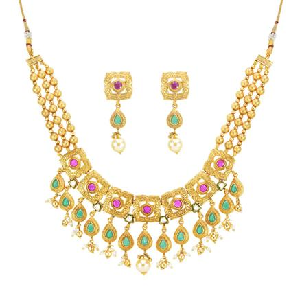 14265 Antique Mala Necklace with matte gold plating