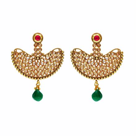 14318 Antique Chand Earring with gold plating