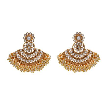 14319 Antique Chand Earring with gold plating