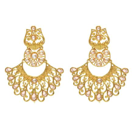 14340 Antique Chand Earring with gold plating