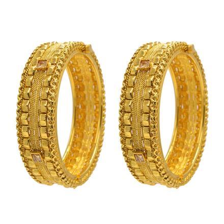 14343 Antique Plain Gold Bangles