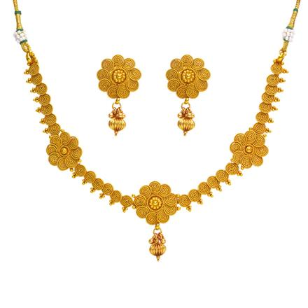 14359 Antique Delicate Necklace with gold plating