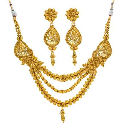14368 Antique Plain Gold Necklace