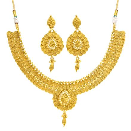 14370 Antique Plain Gold Necklace