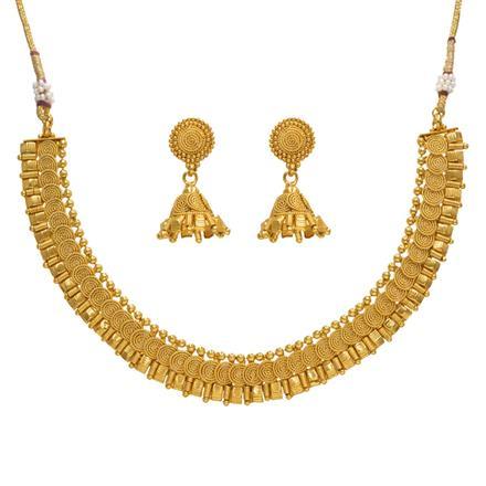 14380 Antique Plain Gold Necklace