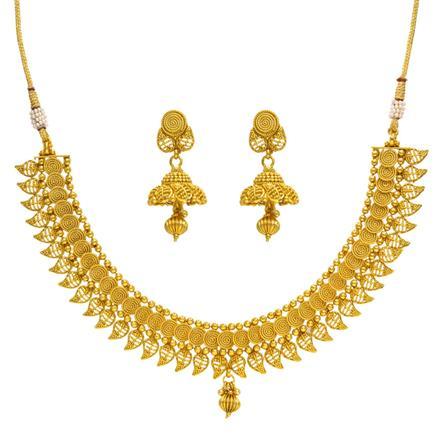 14381 Antique Plain Gold Necklace