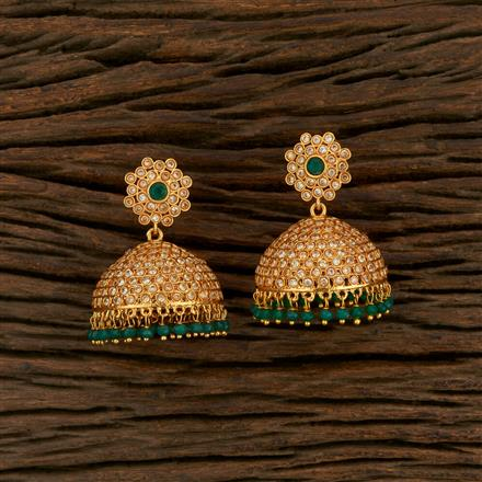 14449 Antique Jhumkis With Gold Plating