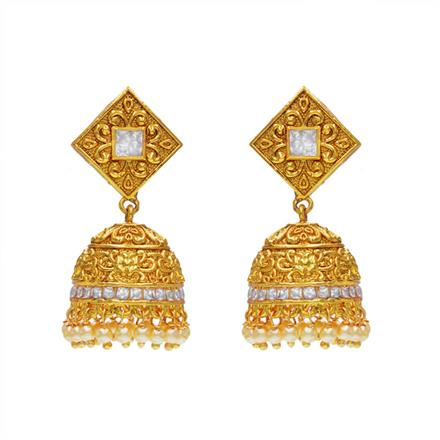 14450 Antique Jhumki with gold plating