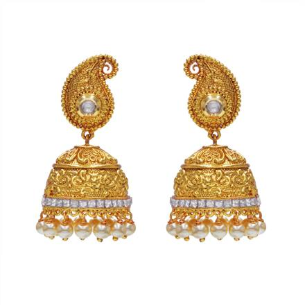 14527 Antique Jhumki with gold plating