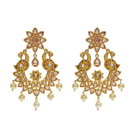 14542 Antique Peacock Earring with gold plating