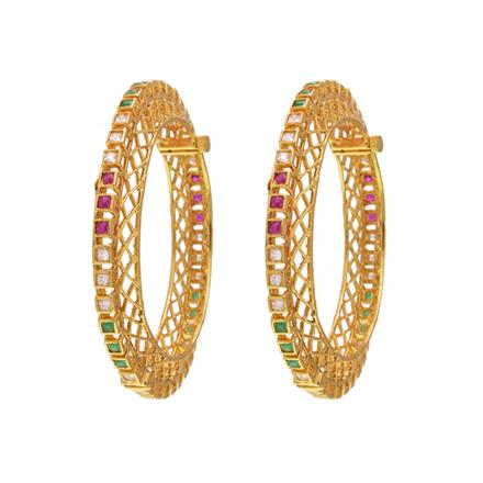14569 Antique Openable Bangles with gold plating