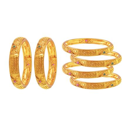 14572 Antique Classic Bangles with gold plating