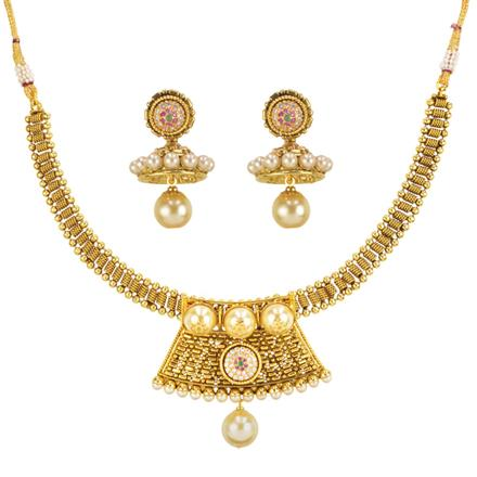 14579 Antique Choker Necklace with gold plating