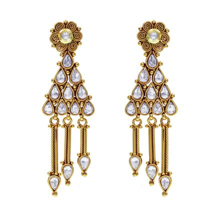 14583 Antique Long Earring with gold plating