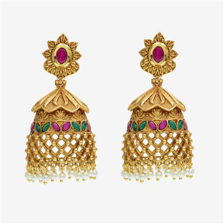 14613 Antique Jhumki with gold plating