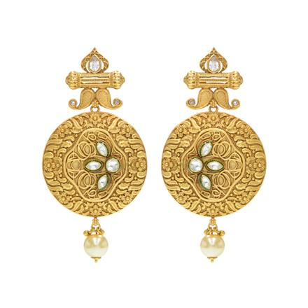 14615 Antique Classic Earring with matte gold plating