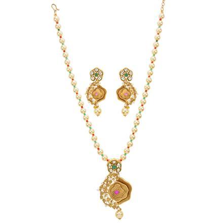 14618 Antique Mala Pendant Set with gold plating