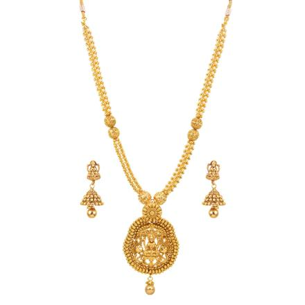 14664 Antique Temple Pendant Set with gold plating