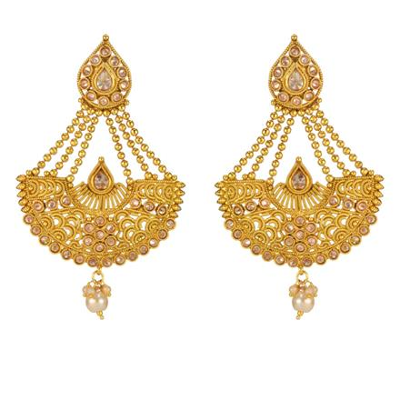 14717 Antique Long Earring with gold plating
