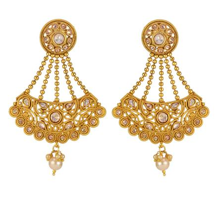 14718 Antique Long Earring with gold plating