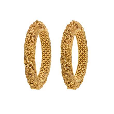 14747 Antique Plain Gold Bangles