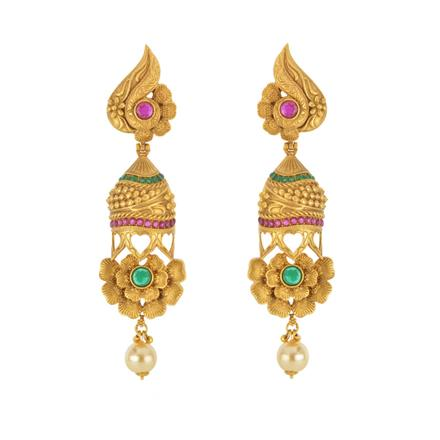 14794 Antique Long Earring with gold plating