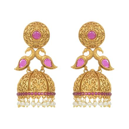 14795 Antique Jhumki with gold plating