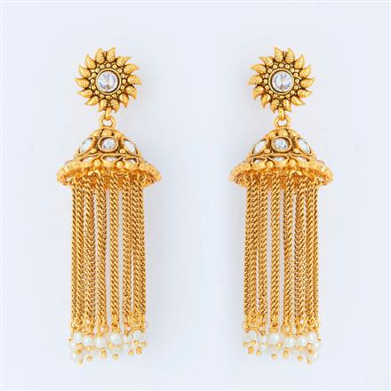 14820 Antique Jhumki with gold plating
