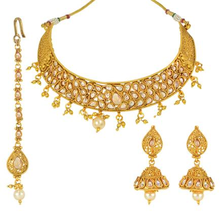 14842 Antique Mukut Necklace with gold plating