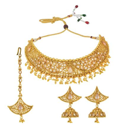 14843 Antique Mukut Necklace with gold plating