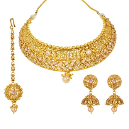 14844 Antique Mukut Necklace with gold plating