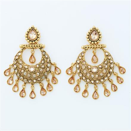 14862 Antique Chand Earring with gold plating