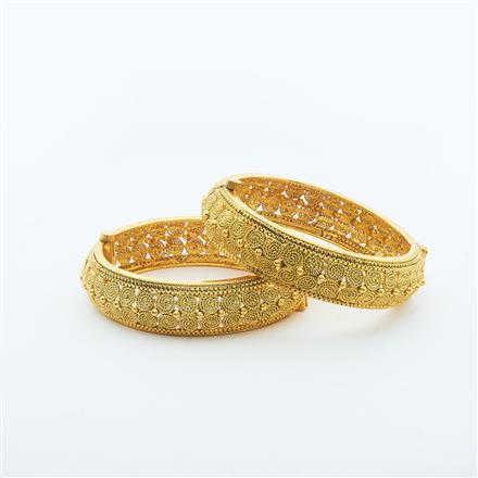 14864 Antique Plain Gold Bangles
