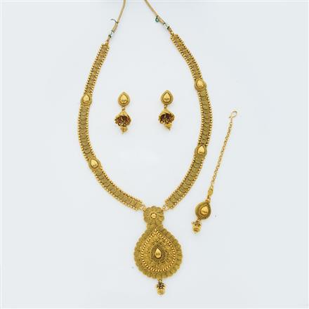 14877 Antique Long Necklace with gold plating