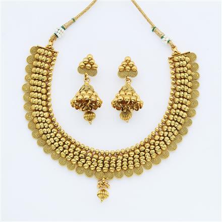 14886 Antique Plain Gold Necklace