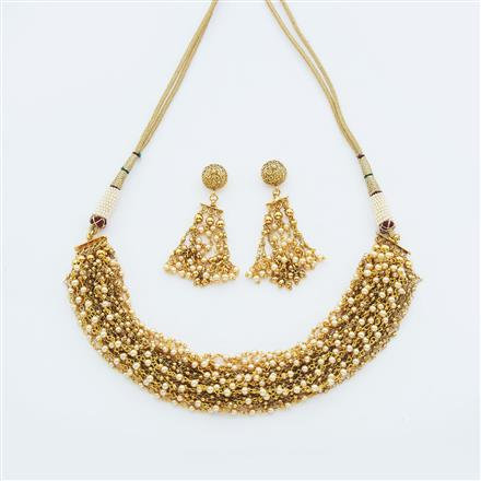 14953 Antique Mala Necklace with gold plating