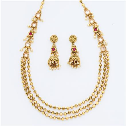 14957 Antique Long Necklace with gold plating