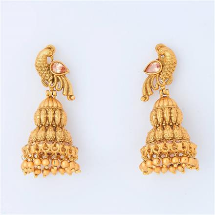 14962 Antique Peacock Earring with gold plating