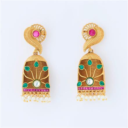 14963 Antique Jhumki with gold plating