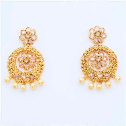 14966 Antique Chand Earring with gold plating