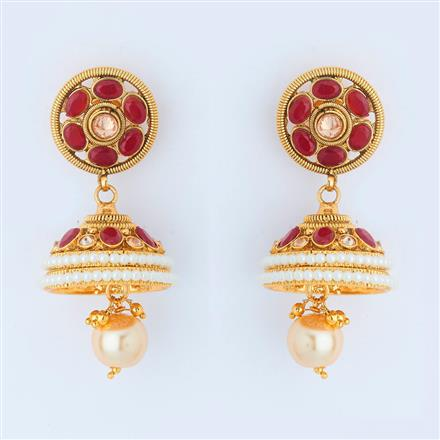 14975 Antique Jhumki with gold plating
