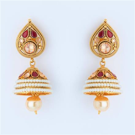 14976 Antique Jhumki with gold plating