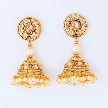 14977 Antique Jhumki with gold plating