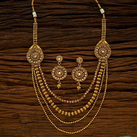 14978 Antique Side Pendant Necklace with gold plating