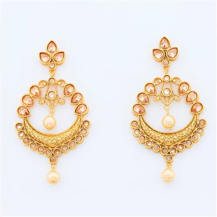14981 Antique Chand Earring with gold plating