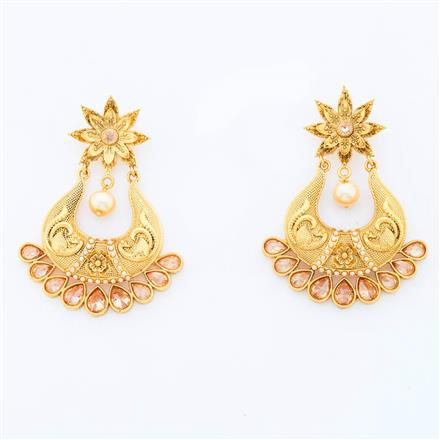 14983 Antique Chand Earring with gold plating