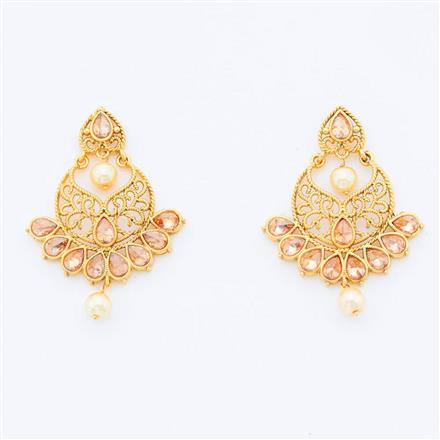 14986 Antique Chand Earring with gold plating