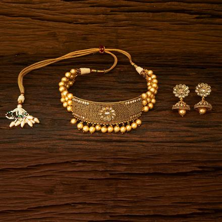 15340 Antique Choker Necklace with gold plating